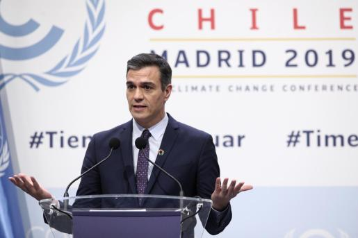 El presidente del Gobierno en funciones, Pedro Sánchez, en la cumbre del clima.