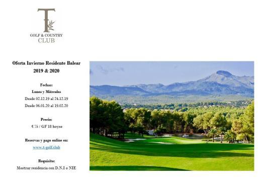 Oferta para residentes en T Golf & Country Club.