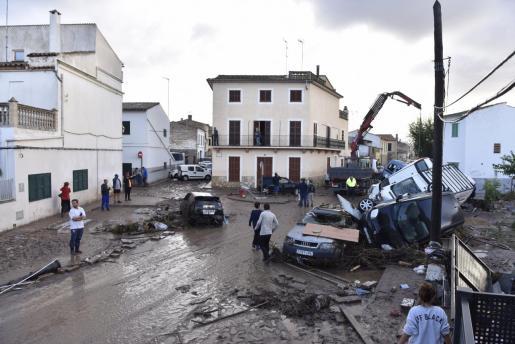 Vista general del centro de Sant Llorenç tras la torrentada.
