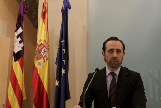 El presidente del Gover, José Ramón Bauzá, duranre una comparecencia en el Consolat de la Mar.