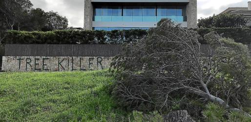 En la pared del chalet de Son Verí, junto al paseo, se puede leer con grandes letras tree killer (asesino de árboles).