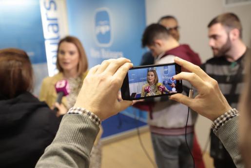 Marga Prohens, durante la rueda de prensa.