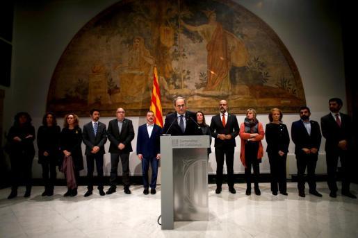 El presidente de la Generalitat de Cataluña, Quim Torra, durante su comparecencia ante los medios.