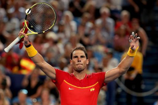 Rafael Nadal celebra la victoria ante Pablo Cuevas.