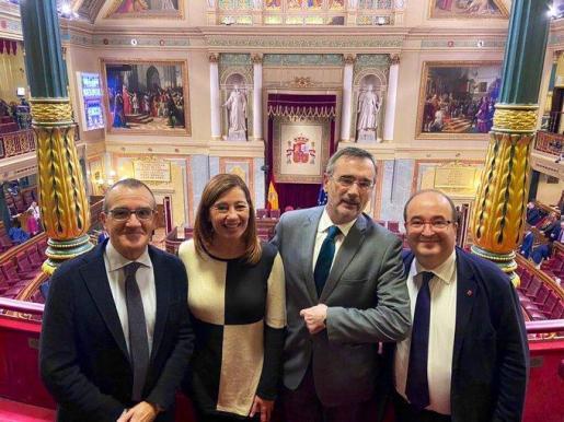 Juan Pedro Yllanes, Francina Armengol, Manuel Cruz y Miquel Iceta, este martes en el Congreso.
