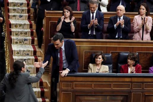 El líder de unidas Podemos, Pablo iglesias, y el secretario general del PSOE, Pedro Sánchez, han demostrado mucha complicidad durante las sesiones de investidura.