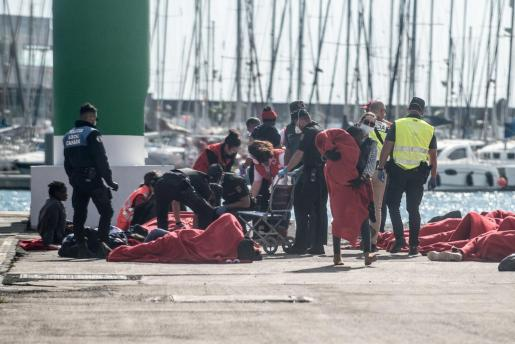 Efectivos de Salvamento Marítimo, Cruz Roja, la Policía y otros servicios de emergencia atienden a las 43 personas rescatadas en una patera.