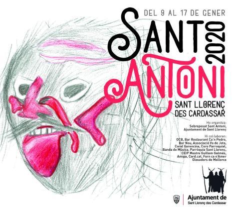Cartel de las fiestas de Sant Antoni que se celebran en Sant Llorenç des Cardassar.
