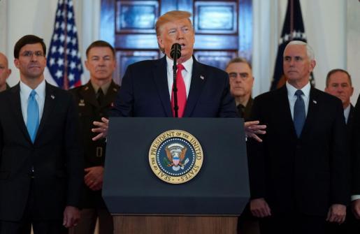 Donald Trump durante su comparecencia tras el ataque a bases de EEUU.