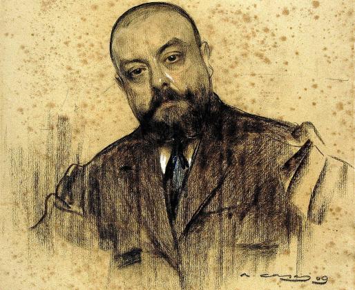 Retrato de Miquel dels Sants Oliver realizado por Ramon Casas en carboncillo y pastel en 1909.