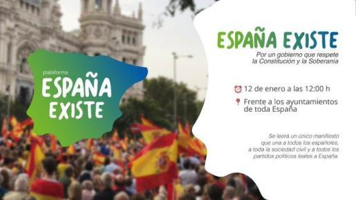 Este es el cartel de la convocatoria que Vox difundió en redes sociales, antes de percatarse de que faltaba en el mapa algún que otro millón de españoles.