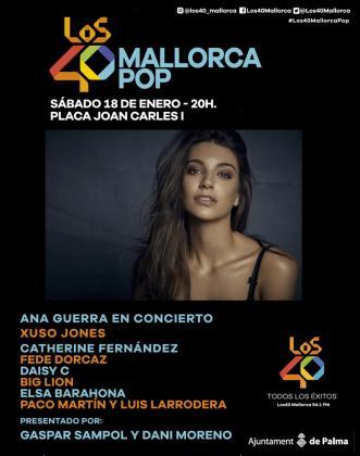 Ana Guerra es la cabeza de cartel del concierto Los 40 Mallorca Pop que se celebra en la Plaça Joan Carles I con motivo de las fiestas de Sant Sebastià 2020.