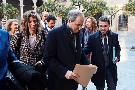 Quim Torra junto a Pere Aragonès en la previa a una reunión.