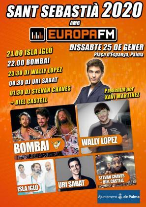 Isla Iglú, Bombai, DJ Wally López, DJ Uri Sabat, DJ Stevan Chaves & Biel Castell. pondrán música al concierto de Europa FM con motivo de las fiestas de Sant Sebastià 2020.