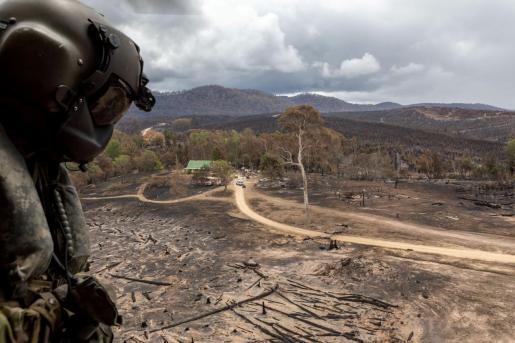 Imagen de una zona quemada por los terribles incendios que arrasan Australia.