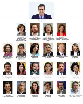 Combo de fotografías de los integrantes del nuevo Gobierno de España.