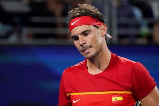 Nadal lamenta una jugada durante el partido disputado este domingo contra Djokovic.