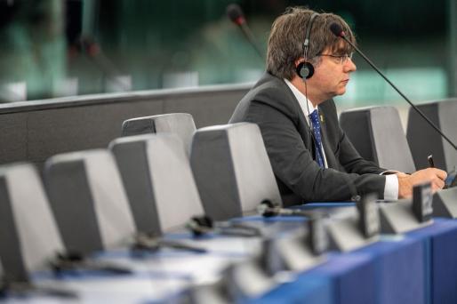 El expresidente catalán y eurodiputado, durante la sesión de este martes.