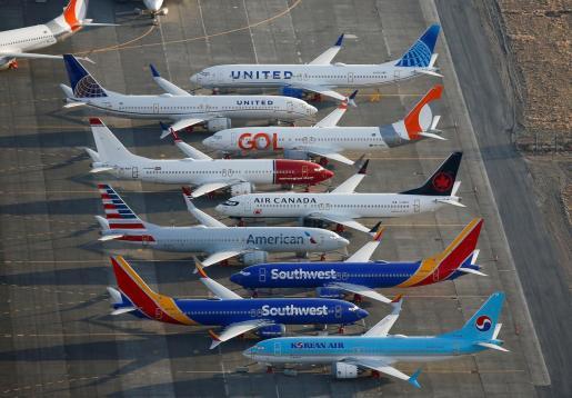 Imágenes aéreas de Boeing 737 MAX estacionados en el aeropuerto de Washington.