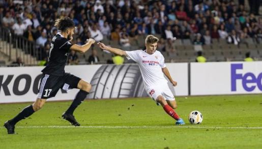 Imagen del jugador del Sevilla Alejandro Pozo, que podría llegar al Real Mallorca en las próximas horas en calidad de cedido.