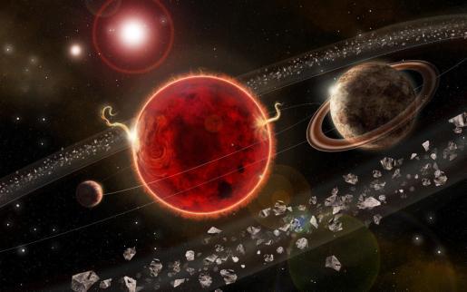 Fotografía cedida por la revista 'Science Advances' de una representación artística del sistema planetario Próxima Centauri, con el exoplaneta recién descubierto.