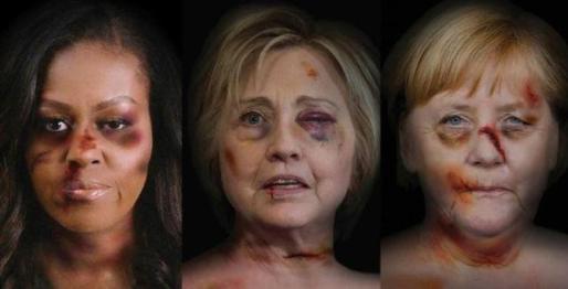 Michelle Obama, Hillary Clinton y Angela Merkel en las imagenes de la campaña 'Solo porque soy mujer'.