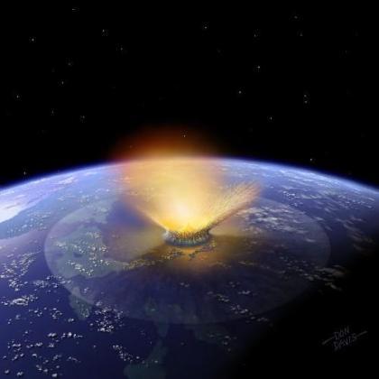 Recreación artística del impacto sobre la Tierra del asteroide Baptistina.