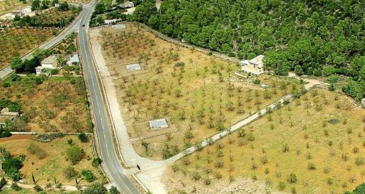 Vista aérea de los terrenos donde se encuentran los pozos de s'Estremera, el principal acuífero de cuantos suministran agua al municipio palmesano.