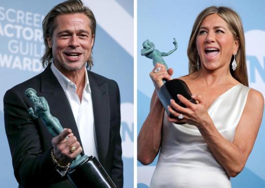 Brad Pitt y Jennifer Aniston, con sus respectivas estatuillas conseguidas en los premios del Sindicato de Actores.