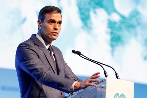 El presidente del gobierno Pedro Sánchez durante su intervención en la inauguración del X Foro Exceltur.