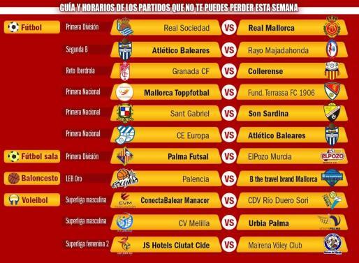 Los enfrentamientos de los equipos mallorquines que compiten en las principales categorías del panorama nacional.