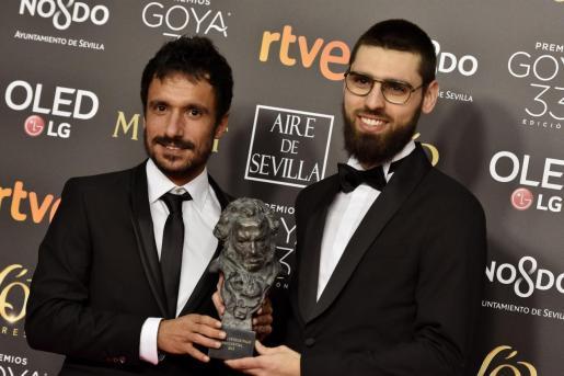Julio Pérez del Campo (izquierda) y Carles Bover, con el 'cabezón', en los anteriores Goya.