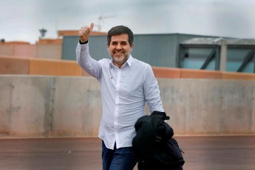 El expresidente de la ANC Jordi Sànchez, a su salida este sábado de la cárcel de Lledoners.