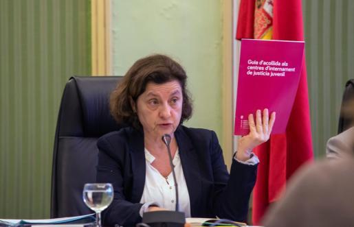 La consellera de Asuntos Sociales y Deportes, Fina Santiago, durante su comparecencia ante la Diputación Permanente del Parlament.