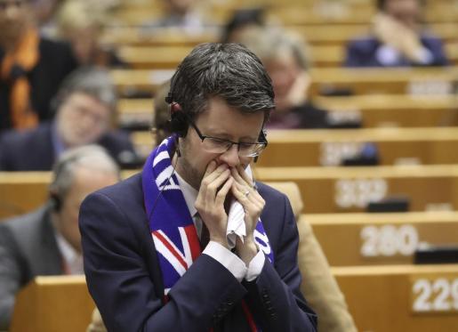Un miembro del Parlamento Europeo durante el pleno.
