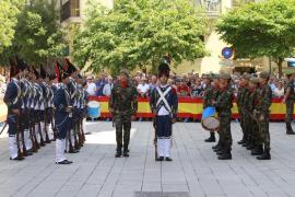 Tres siglos de historia militar desfilan frente al Palacio de la Amudaina