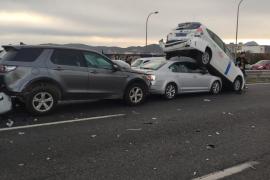 Un accidente múltiple provoca colas kilométricas en la vía de cintura de Palma