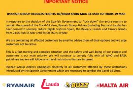 Ryanair reduce sus vuelos con Balears del 16 al 19 de marzo
