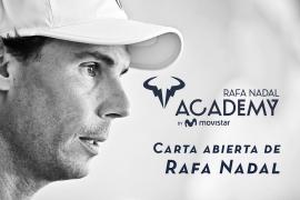 Rafa Nadal explica las medidas tomadas en su academia y manda un mesaje de ánimo y optimismo