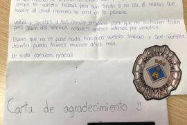 La carta de agradecimiento de una niña a la Policía Local de Formentera