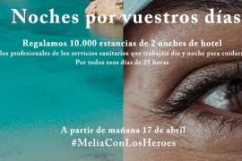 Meliá regalará 10.000 estancias de dos noches de hotel a los sanitarios