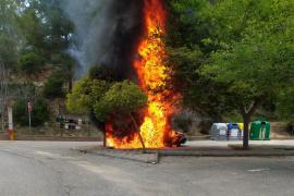 Arde un coche frente al cementerio de s'Arracó