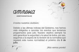 Anuncio de Amnesia de la cancelación de los eventos de julio.