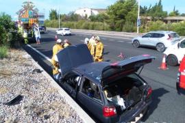 Aparatoso accidente en la autopista de Inca