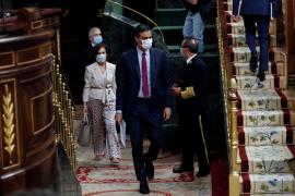 Pedro Sánchez aparece en el Congreso con una mascarilla con la bandera de España