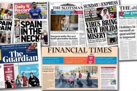 Los diarios británicos dedican sus portadas a la cuarentena