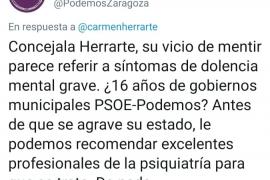 Podemos pide disculpas por un tuit «improcedente» e «inadmisible» sobre una consejera de Ciudadanos de Zaragoza
