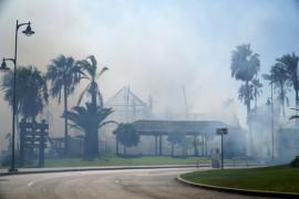 Un incendio forestal en Estepona afecta a una zona comercial y a viviendas
