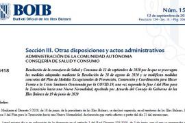 El BOIB publica las nuevas restricciones