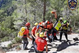 Laborioso rescate de un escalador en el Castell d'Alaró